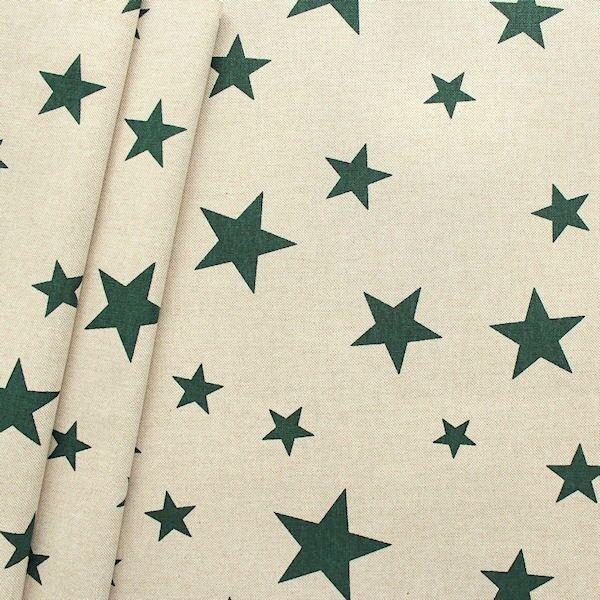 Dekostoff Sterne Mix Natur Grün