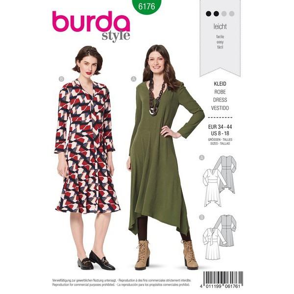 Kleid mit Taillenblende und Glockenrock – V-Ausschnitt,  Gr. 34 - 44, Schnittmuster Burda 6176