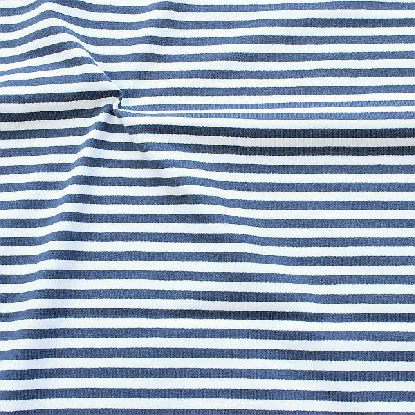 Baumwoll Stretch Jersey Ringel Jeans-Blau Weiss