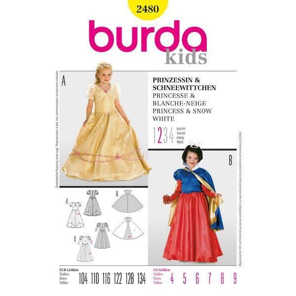 Burda Kinderkostüm 2480 Schnittmuster für Prinzessin und Schneewittchen