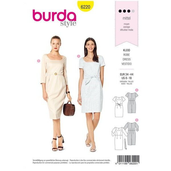 Kleid – Shiftkleid – Carré-Ausschnitt, Gr. 34 - 44, Schnittmuster Burda 6220