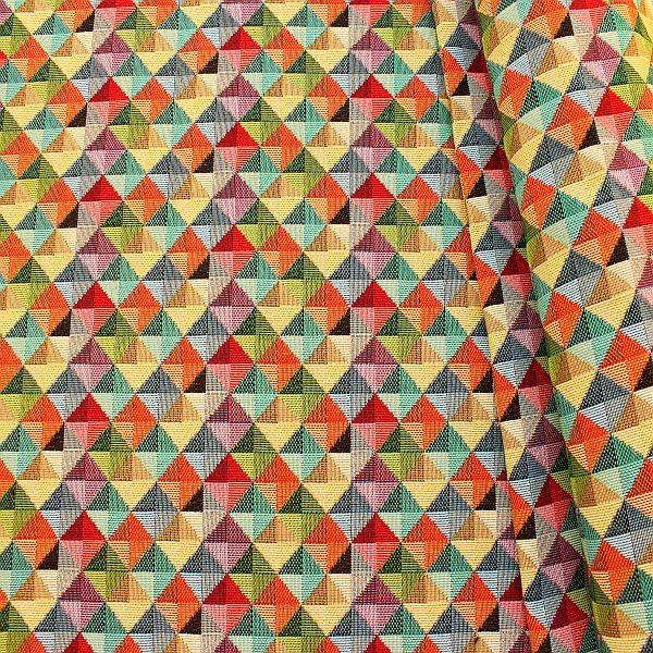Gobelin Möbelstoff Dekostoff Dreiecks-Quader Multicolor
