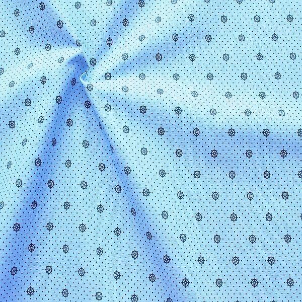 Baumwollstoff Mini Punkte & Steuerräder Hell-Blau Navy