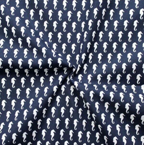 """100% Baumwollstoff """"Seepferdchen klein"""" Farbe Navy-Blau Weiss"""