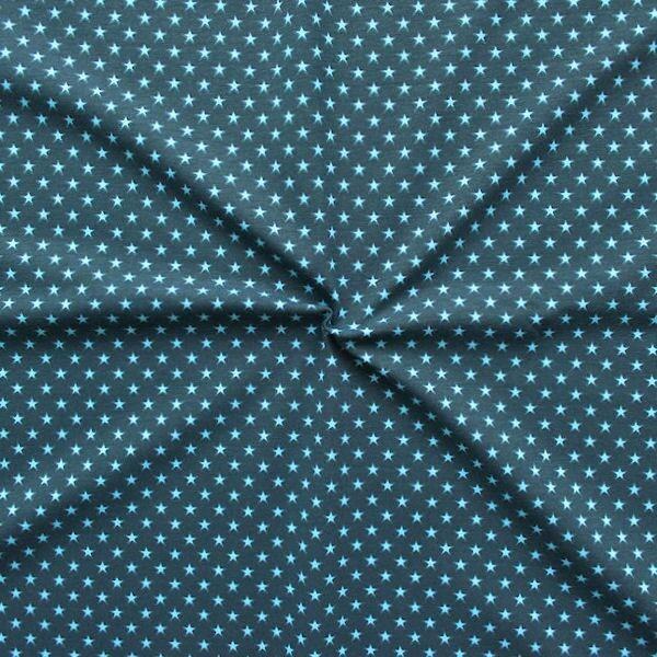 """Baumwoll Stretch Jersey """"Sterne klein"""" Farbe Dunkel-Blau Hell-Blau"""