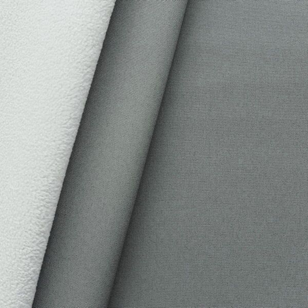"""Softshell Fleece Stoff """"Two Tone"""" Farbe Grau-Weiss"""