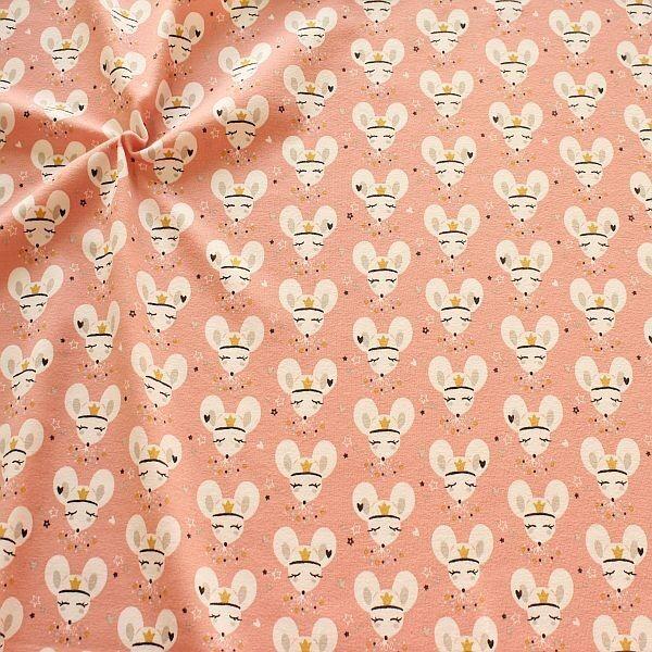 Baumwoll Stretch Jersey Maus Prinzessin Rosa