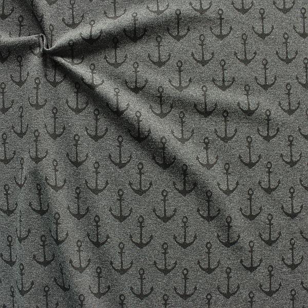 Sweatshirt Baumwollstoff French Terry Anker Used Look Anthrazit meliert
