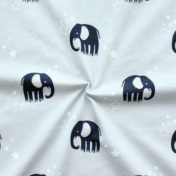 Baumwoll Stretch Jersey Glitzer Elefanten Hell-Grau
