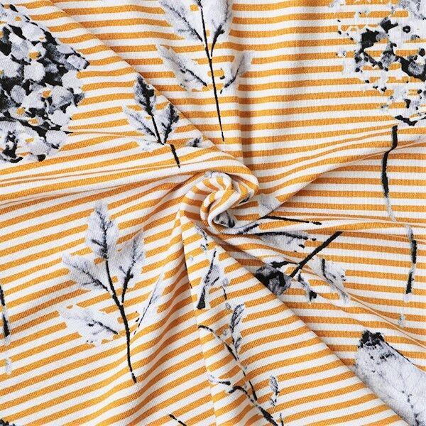 Viskose Stretch Jersey Streifen & Hortensien Weiss Curry-Gelb