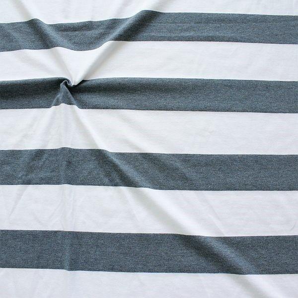 Baumwoll Stretch Jersey Blockstreifen Melange Weiss Dunkel-Blau