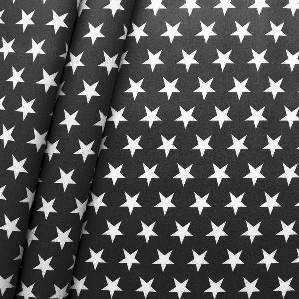 Baumwollstoff beschichtet Sterne Groß Schwarz