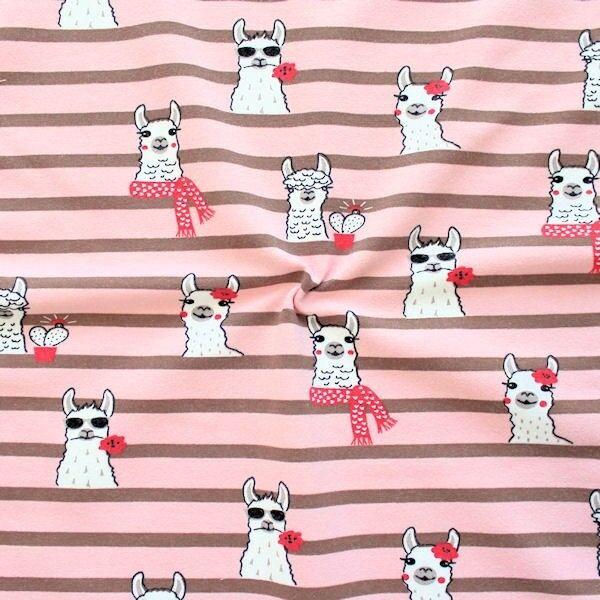 """Sweatshirt Baumwollstoff French Terry """"Happy Lamas"""" Farbe Rosa"""
