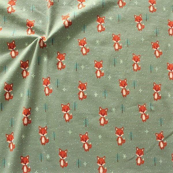 Baumwoll Stretch Jersey Winter Fuchs Grau-Grün