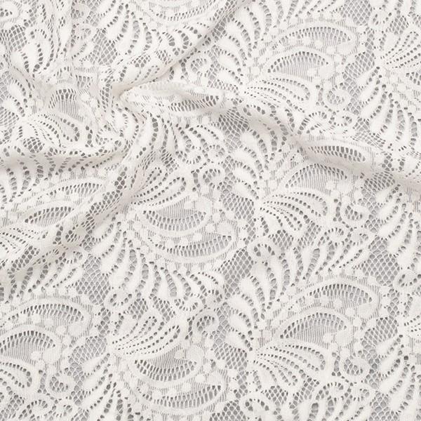 Stretch Spitzenstoff Romantic Leaves Creme-Weiss