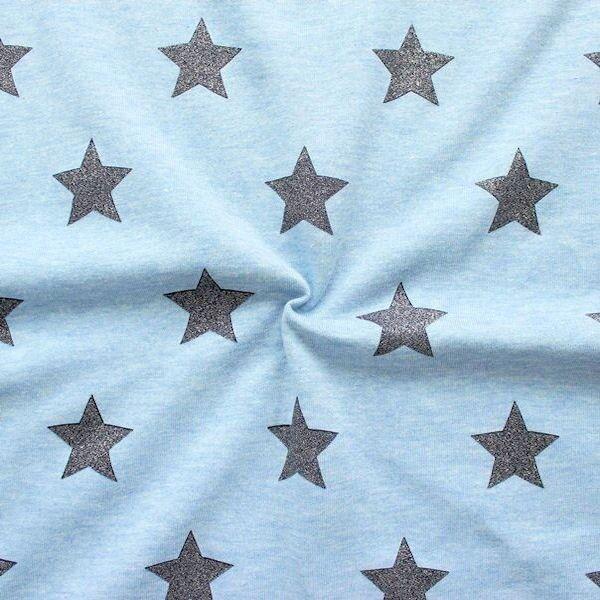 Sweatshirt Baumwollstoff Glitzer Sterne Hellblau meliert