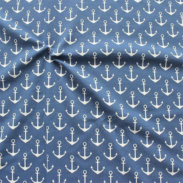 Sweatshirt Baumwollstoff French Terry Anker Groß Tauben-Blau