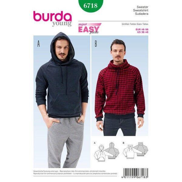 Herrensweater – Hoody – Kragen mit Kordeldurchzug – Raglan-Ärmel, Gr. 46 - 56, Schnittmuster Burda 6718