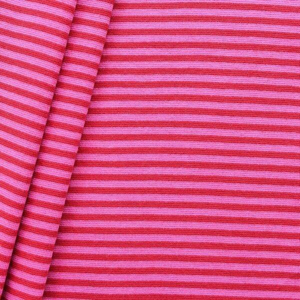 """Baumwoll Bündchenstoff """"Ringel glatt 2"""" Farbe Rot-Pink"""