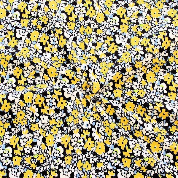 Gelber Viskose-Stretch-Jersey mit Butterblumenmuster