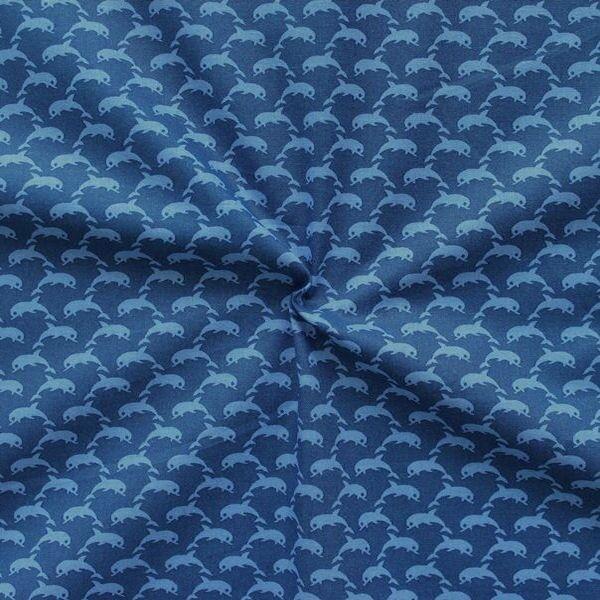Blaue Baumwoll-Popeline mit kleinen Delfinen