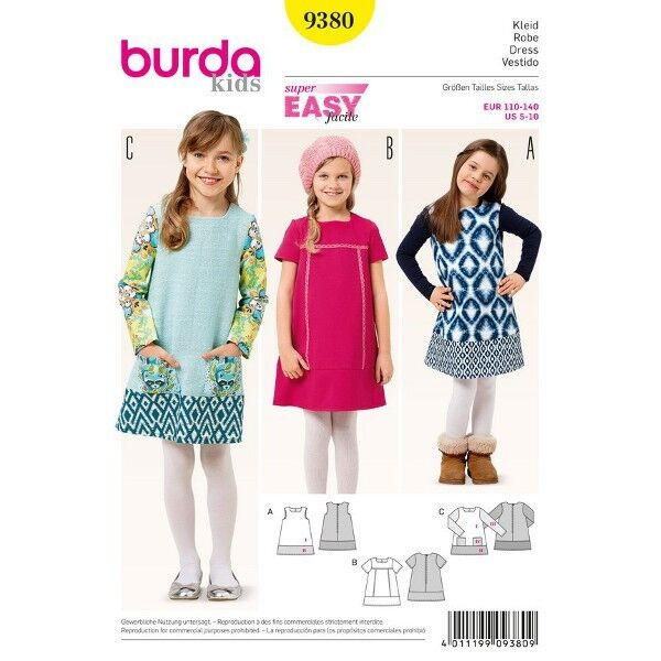 Kleid - Saumblende - nähleicht, Gr. 110 - 140, Schnittmuster Burda 9380