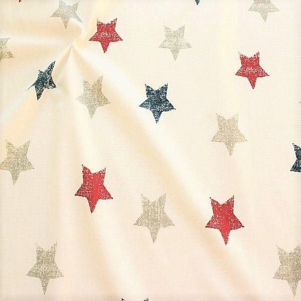 Dekostoff Halbpanama Vintage Stars Rot-Blau-Beige