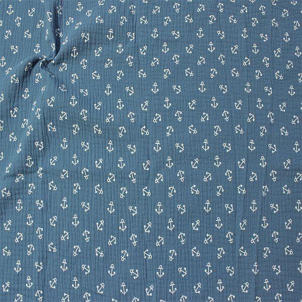 Baumwoll Musselin Double Gauze Anker mittel Tauben-Blau