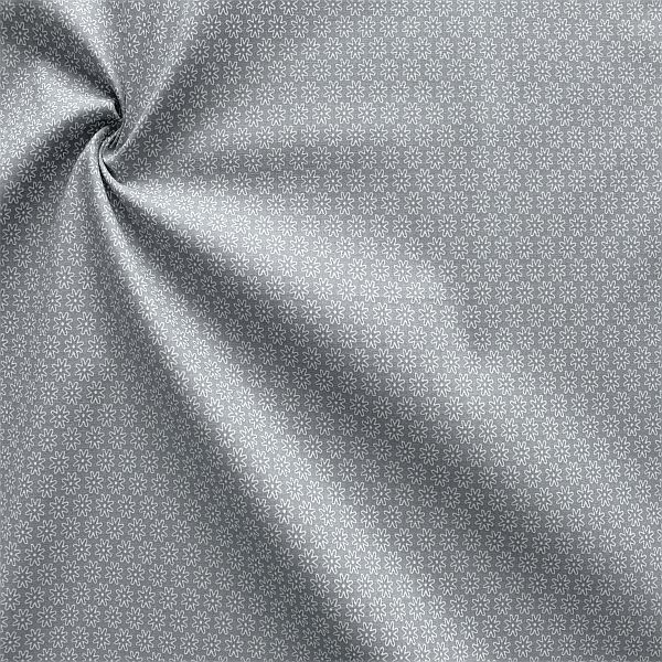 Baumwollstoff Sternblüten Grau