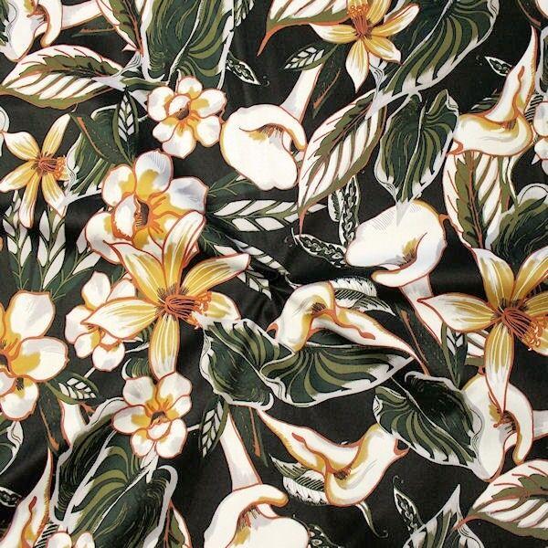 "Stretch Baumwolle Satin ""Tropic Flowers"" Farbe Schwarz"
