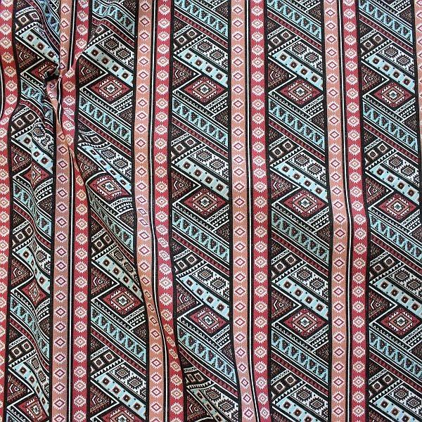 Baumwollstoff Inka Style Rot-Multicolor