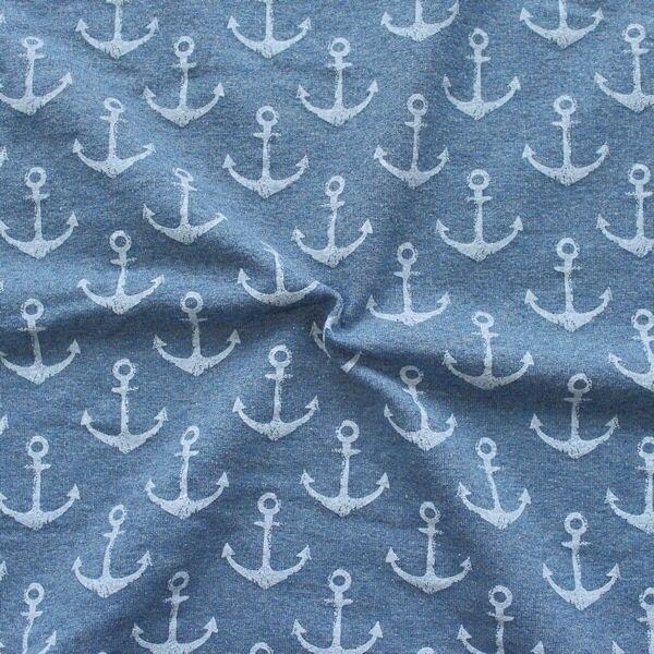 "Sweatshirt Baumwollstoff French Terry ""Anker Used Look"" Farbe Blau meliert"