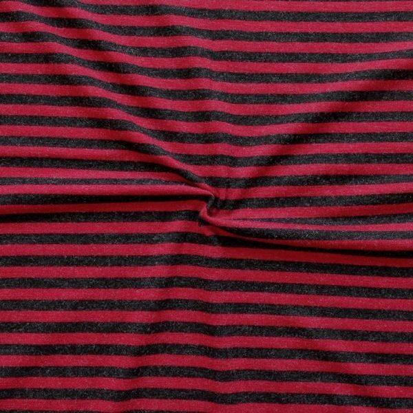 """Viskose Stretch Jersey """"Ringelstreifen 3"""" Farbe Schwarz-Rot"""