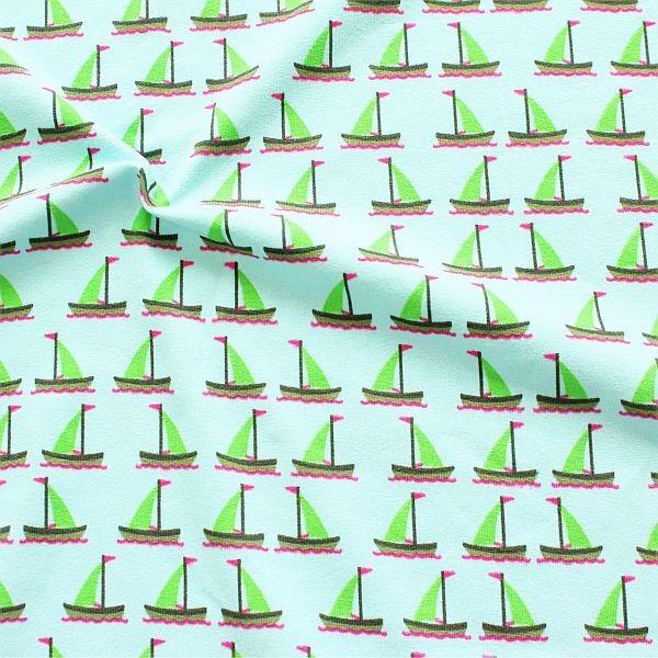 Baumwoll Stretch Jersey Segelboote Türkis