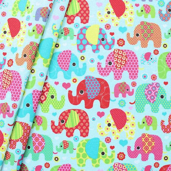 Baumwolle Elefanten hellblau
