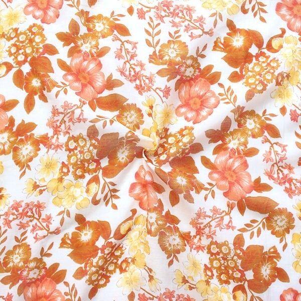 Baumwolle Seide Musselin Blütenpracht Weiss
