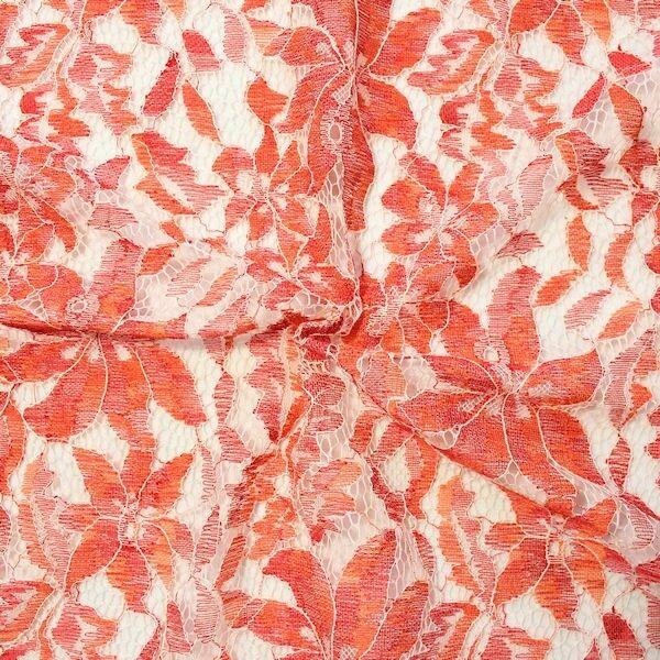 "Spitzenstoff ""Classic Flower 3"" Farbe Orange-Rot"