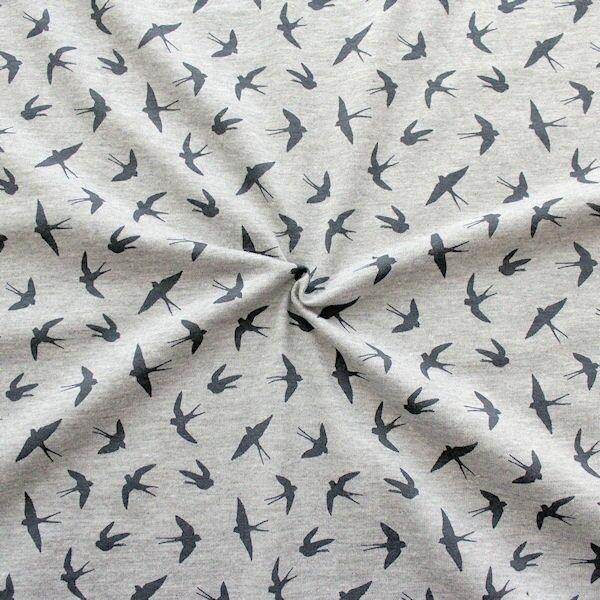 Baumwolle-Polyester Stretch Jersey Schwalben Mix Hell-Grau meliert