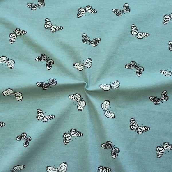 "Baumwoll Stretch Jersey ""Schmetterlinge 14"" Farbe Blau-Grau"