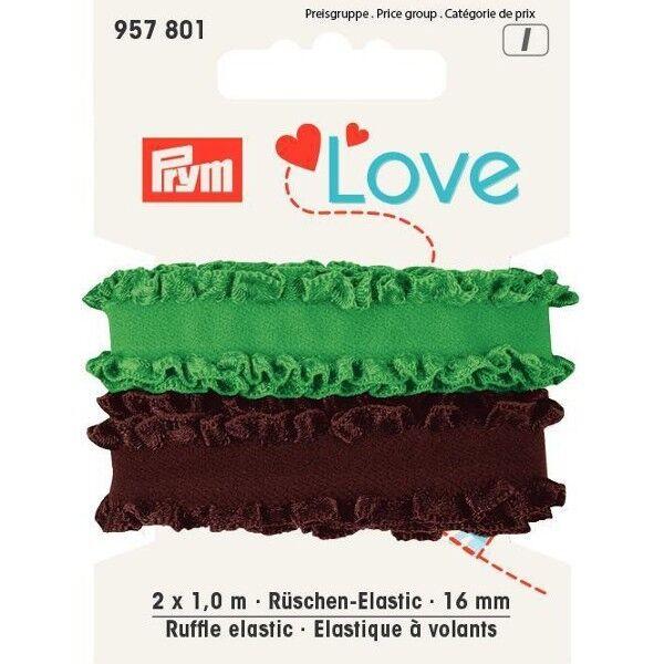 Prym Love 2 x 1m Rüschen-Elastic 16mm breit braun, grün