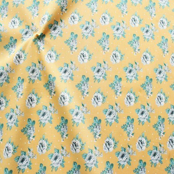 Baumwolle Popeline Rosen & Punkte Gelb