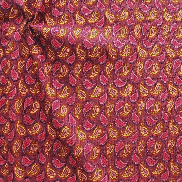 Feincord Baumwollstoff Paisley Violett