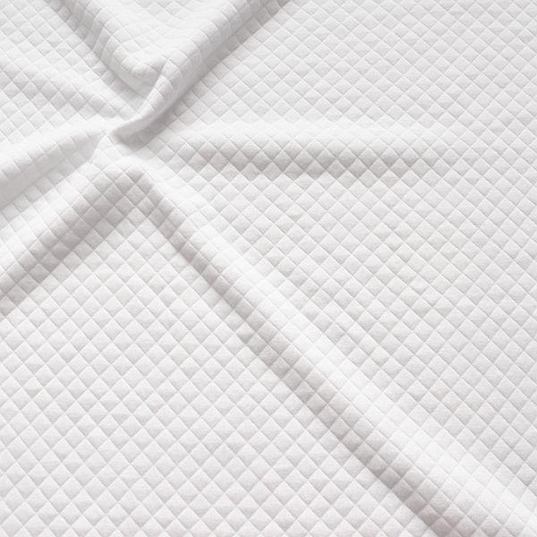 Modestoff Dekostoff Stepp-Optik Rauten Klein Weiss