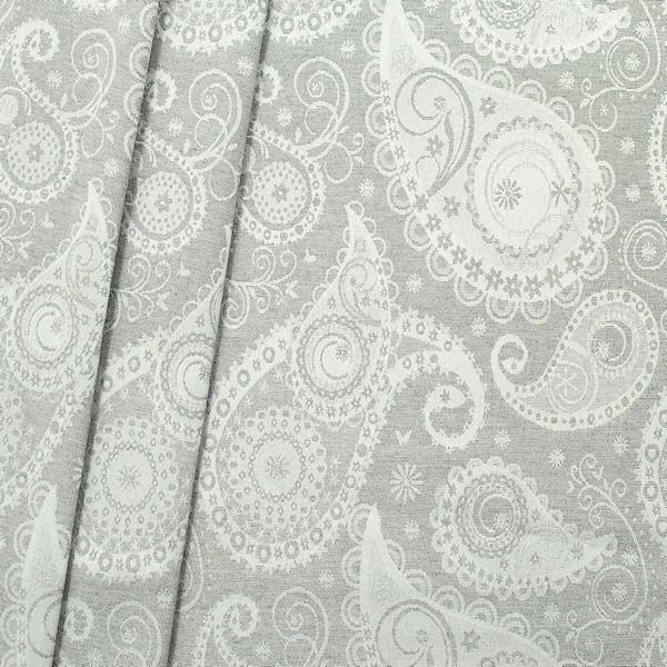 Jacquard Dekostoff Silver Paisley Hell-Grau