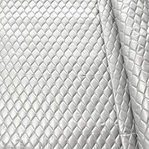 Steppstoff wattiert Waben Metallic Optik Silber