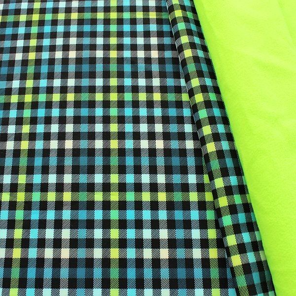 Softshell Fleece Stoff Karo Neon Blau-Grün