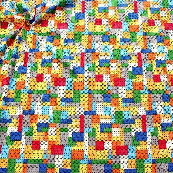 Baumwoll Stretch Jersey Lego-Steine Multicolor