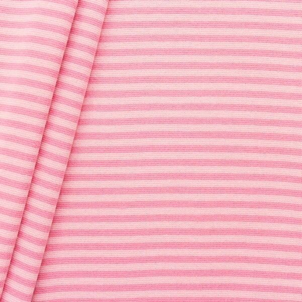 Baumwoll Bündchenstoff Ringel glatt Rosa
