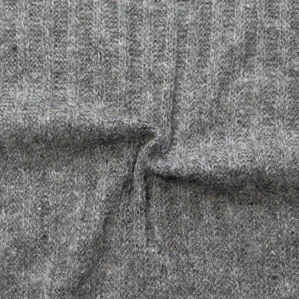 Strickstoff gerippt Grau meliert
