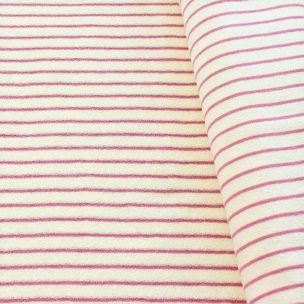 Frottee Baumwollstoff Streifen Ecru-Rosa